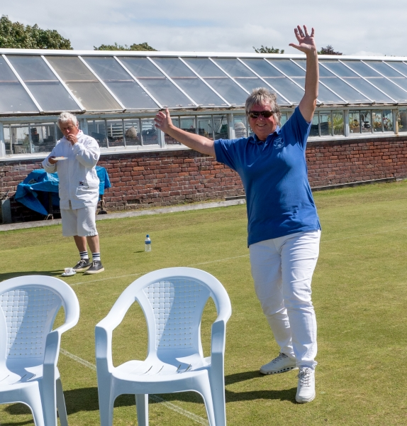 2017 Festival Secretary Liz Wilson celebrates another over