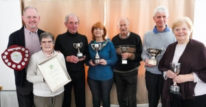 Trophy winners at 2019 Fed ASGM - David Cornes (Crake - HGC league); Jean Hargreaves (Bury - CA Diploma); Alan Clare (Chester Centurions - LPG League); Vi Richards (Bury - Short AC league); Jerry Guest (Chester -n B League); David Boyd (Chester - we Hcp league); Sheila Marsland (Tattenhall - Townsend Award).