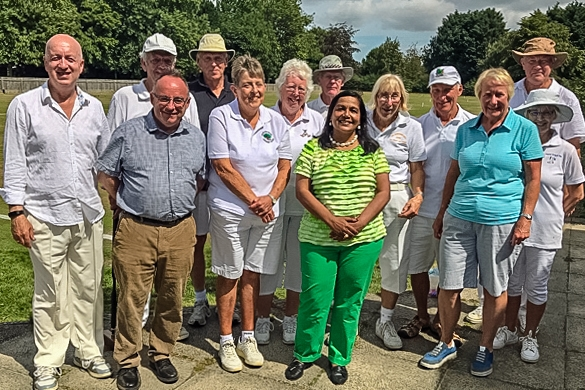 Competitors in the All England golf croquet tournament with our local councillors, Razia Daniels and Neil Sullivan, who attended the event on the first day of the tournament