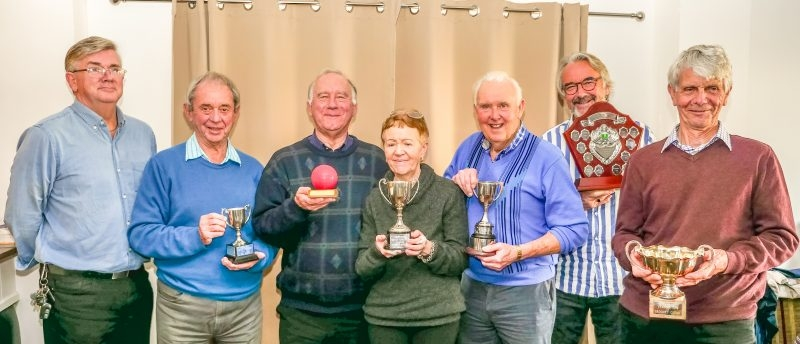 Fed Chair Paul Rigge (left) with 2018 League Winners - Alan Clare (Chester Centurions - Level Play Golf League); Derek Lunt (Southport - Midweek League); Francois Garcia (Bowdon - Advanced B League); Mike Hodgson (Westmorland - Short League); David Snaith (Westmorland - Golf League); David Boyd (Chester - Weekend Handicap League).