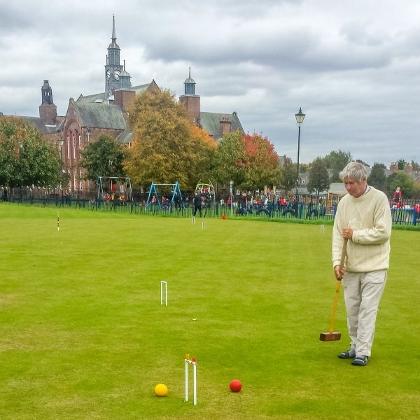 Robin Swindell (Penrith) playing at York in inaugural Short Croquet Competition.
