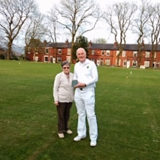 Dave Walters, being presented with the Federation LPG Millennium trophy by Organiser Jean Hargreaves.