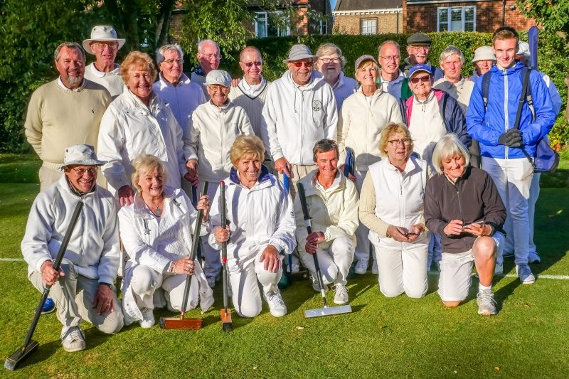 Group photo of players taking part in 2018 York Short Croquet tournament.  (photo: Kath Thomas).