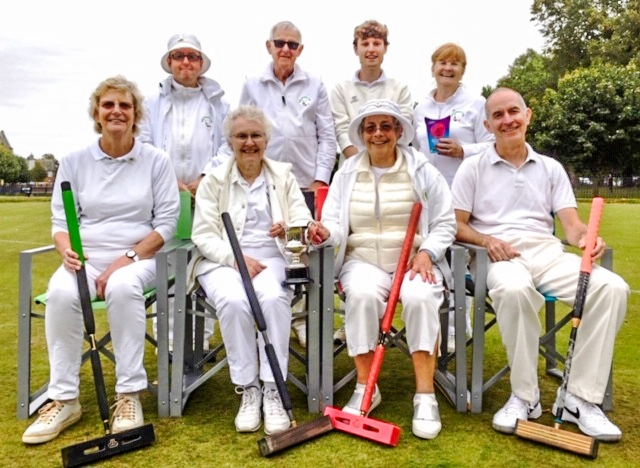 Bury (back row) and Bowdon players in the national Short Croquet final