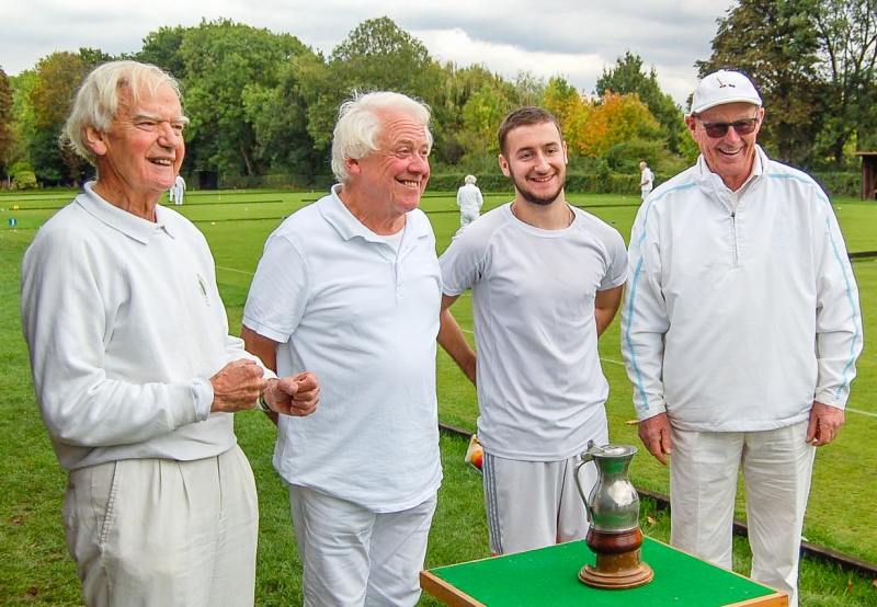 Jubilant Bowdon team with Mary Rose Trophy - (l to r) Martin Granger Brown; Charles Harding; Will Mellor; Alan Mayne