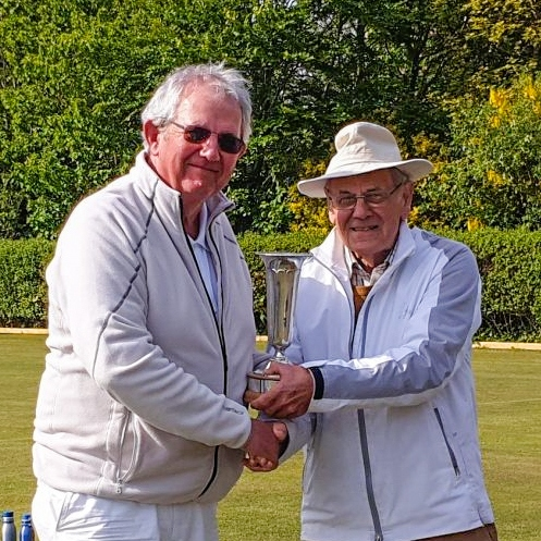 Peter Williams (Southport) receives the Carol Lewis Trophy from Club President Alan Pidcock