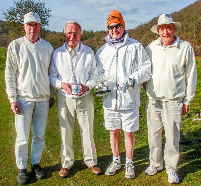 Simon Robins and David Cornes winners of the Crake Valley Alternate Strokes Doubles Tournament with Manager David Lloyd (left) and Chairman Jim Allcock (right).