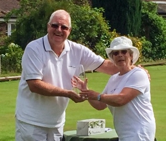 Brian Storey presenting Cas Sinclair with the 2019 Bowdon Short AC Trophy