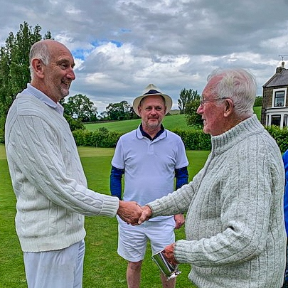 2019 David Widdison (left) receives the Pendle Open GC trophy from Will Drake 16 June