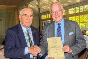 CA President, Quiller Barrett, presents a CA Diploma to David Guyton (Chester) at the CA AGM on 20 Oct 2018. (Photo: Chris Roberts)