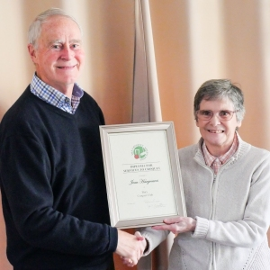 Jean Hargreaves (Bury) presented with a CA Diploma for Services to Croquet on behalf of the CA by John Dawson
