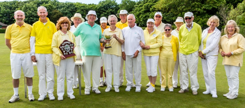 The victorious Bury Croquet squad with the 2015 Festival Cup and Short event shield