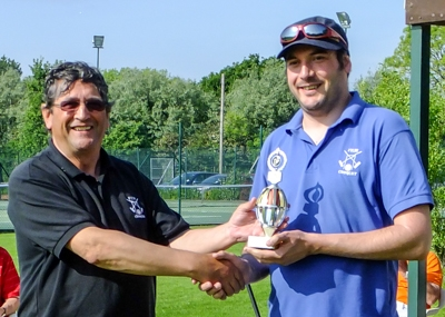 Nathan Baker (Fylde) being presented with winners trophy by Manager Peter Wilson