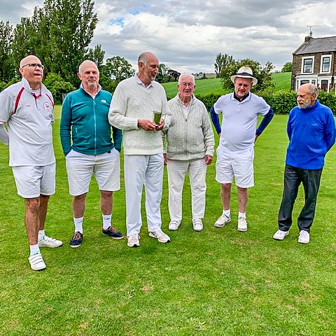 2019 Pendle Open GC - l to r - Tim King; David Bell; David Widdison; Will Drake; David Cornes; Abdul Ahmed. (June)