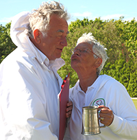 Eileen Gallagher receives the Jubilee Tankard from Southport Vice President, Don Williamson