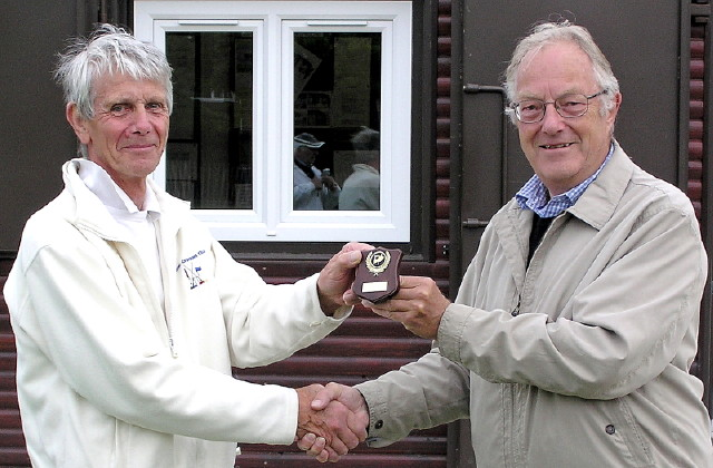 David Boyd (left) receiving the winning trophy from the Chairman of Chester Croquet Club, David Guyton (right)
