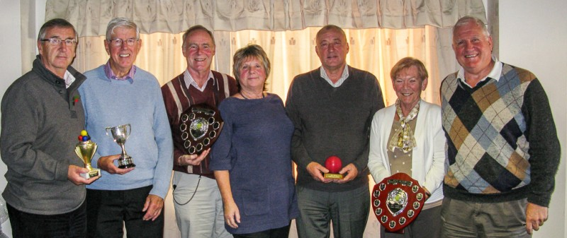 League Trophy Presentations at NWFCC 2013 AGM - l to r - Ken Eccles (Bury - Level Play Golf); Jack Pattenden (Lllanfairfechan - Short); John Dawson (Chester - Advanced); Liz Wilson (NWFCC Chair); Jim Allcock (Westmorland - Midweek); Maureen Ivens (Golf - Handicap); Brian Storey (Bowdon St Marys - Handicap).