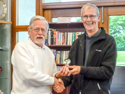 David Barrett presents Don Williamson with the NWFCC Millenium Golf Croquet Trophy