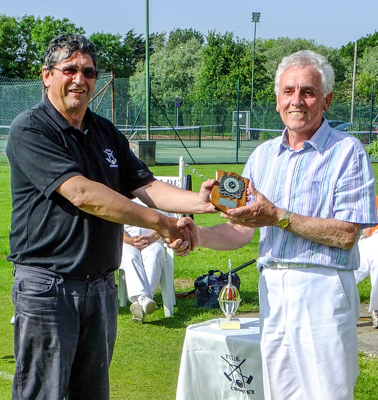 Michael Miller (Chester) being presented with Runner Up trophy by Manager Peter Wilson