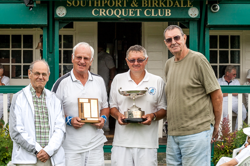 Club President Alan Pidcock, Super B winner Derek Knight, B Level winner Dennis Scarr, Tournament Manager John Haslam.