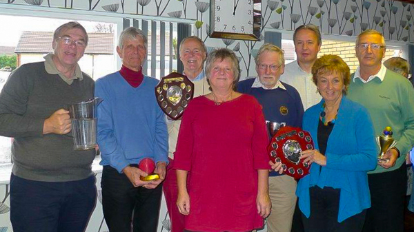 Fed Chair Liz Wilson with the 2014 League Winners - l to r - Gary Wilson (Pendle - B Level); David Boyd (Chester - Midweek); John Dawson (Chester - Advanced); Don Williamson (Southport - Short); Paul Kenworth (Bury Peelers - Handicap); Pat Clare (Chester - Golf); Ken Eccles (Bury East - Level Play Golf).
