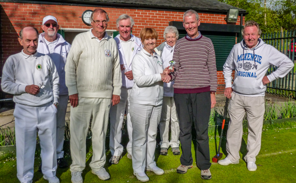 Vi Richards being presented with Millenium Golf Croquet trophy by David Barrett