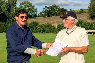John Henderson (Penrith & North Lakes) Runner Up of the All England Regional held at Pendle being presented with Certificate by Tournament Director Peter Wilson.