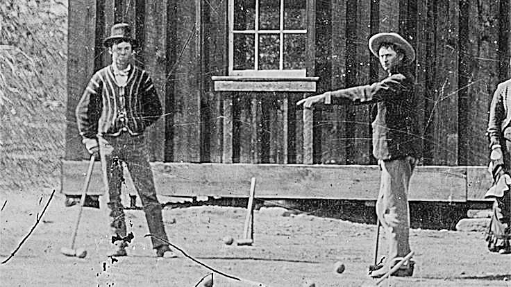 Billy the Kid (left) playing Croquet in 1878 (Pic: Kagin's)