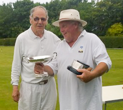 Bob Burnett receives the B Level trophy from Club President Alan Pidcock