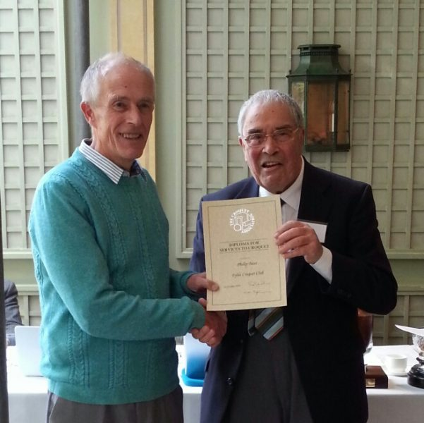 Philip Bass being presented with a CA Diploma by CA President Quiller Barratt
