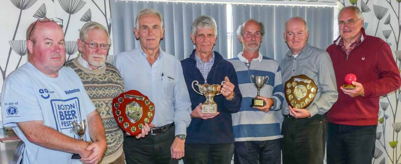 League winning captains with trophies - l to r - Bowdon's Graham Good (Level Play Golf League); Southport's Don Williamson (Golf League); Bowdon's John Haworth (Short League); Chester's David Boyd (Handicap League); Bowdon's Steve Reynolds (B League); Bowdon's David Walters (A League); Westmorland's Ivan Wheatley (Midweek League).