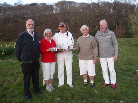 Finalists in the Alternate doubles Crake Valley 8th April 2017- l-r Mike Patefield (Westmorland), Gail Moors (Southport), Peter Wardle (Crake), Tom Griffiths (Crake) and Tournament Manager David Lloyd